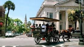 Horse-drawn carriage rides are popular in Charleston.