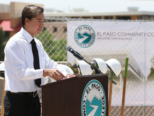 Roberto Sanchez, a student in EPCC's architecture program, speaks at the groundbreaking ceremony for a new building at the Valle Verde Campus that will house the school's program in cooperation with the architecture program at Texas Tech University.