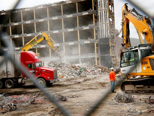 Demolition crews continue tearing down the old Corning