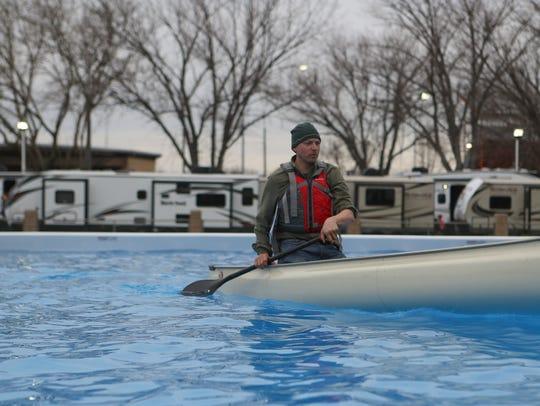 Ethan Ebersold, a kayak and canoe sales representative,