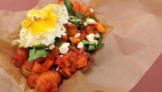 One breakfast offering at the Alley Café is the sweet potato tater tots, which include salsa verde, sweet potato hash, cilantro, queso fresco and fried egg. Breakfast is available until 10:30 a.m.