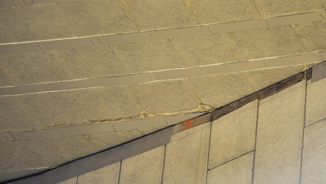 This is the area where a beam fell from the ceiling of Assembly Hall and landed in Section F below.