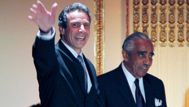 Then-New York Attorney General Andrew Cuomo, left, with Rep. Charles Rangel, in 2010.