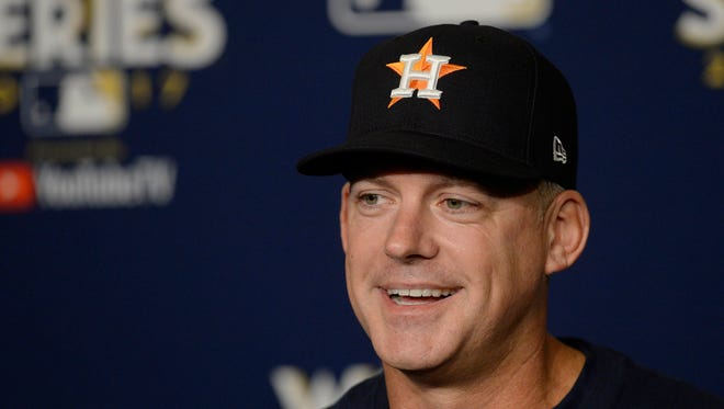 October 23, 2017: Houston Astros manager A.J. Hinch (14) speaks before game 1 of the World Series at Dodger Stadium.