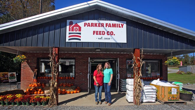 From left, Amber and Dakota Parker recently opened Parker Family Feed Co. in Belwood.