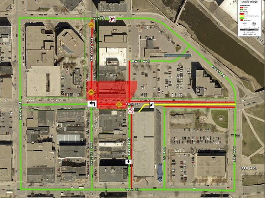 Phillips Avenue is open between 10th and 11th streets. 10th Street is open between Phillips and Main avenues.