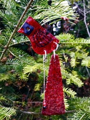 Glass cardinal ornament by Laurel Grey, part of the ornament show Dec. 2 at Plum Bottom Pottery & Gallery.