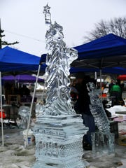 An ice sculpture of the Statue of Liberty on display during the Plymouth Ice Festival in Plymouth Jan. 11, 2014.