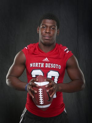 The 2016 Times The All-Area offensive player of the year, Delmonte Hall of North DeSoto, scored 31 rushing touchdowns this past season.