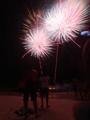 A scene from the 2016 Fourth of July fireworks show on Fort Myers Beach.