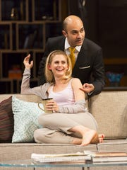 "Caroline Kaplan and Maboud Ebrahimzadeh in a scene from ""Disgraced."""