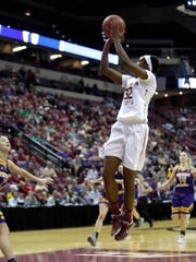 Florida State's Imani Wright goes for a shot during the Seminoles first round victory on Friday night at the Tucker Center.