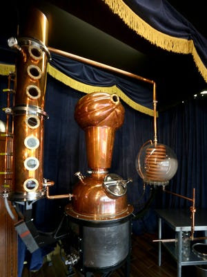 A 50-gallon copper still that artisan distillery Second Sight Spirits uses to make its liquors in Ludlow, Kentucky. The still was designed to look like a turban-clad fortune teller.