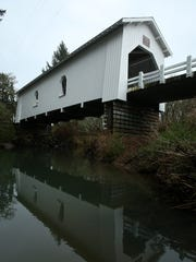 Hoffman Covered Bridge spans Crabtree Creek. The 90-foot
