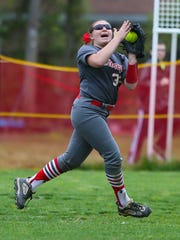 St. Joseph's Gabrielle Fanelli catches a deep fly ball during a 2-1 victory over Wildwood Catholic on May 11.