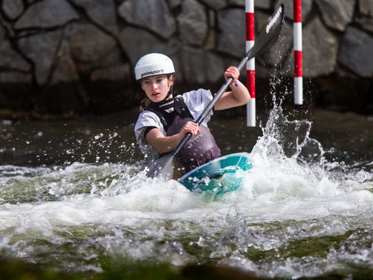 Evy Leibfarth of Bryson City trains on the slalom course