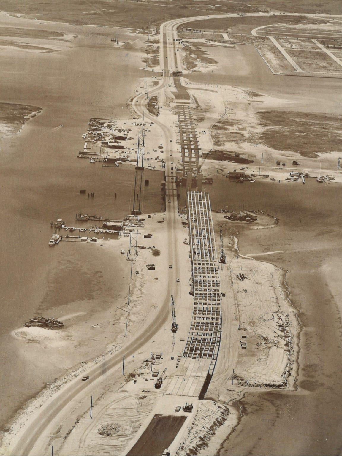 Construction underway at the JFK Causeway bridge in