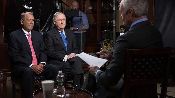 "House Speaker John Boehner and Senate Majority Leader Mitch McConnell being interviewed on ""60 Minutes."""