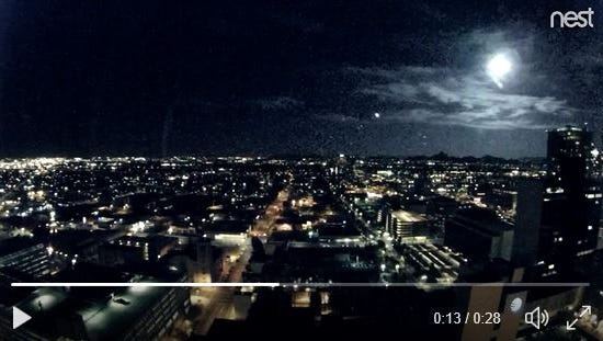 A bright flash believed to be a meteor was captured through the city of Phoenix's cameras around 8:30 p.m. Nov. 14, 2017.
