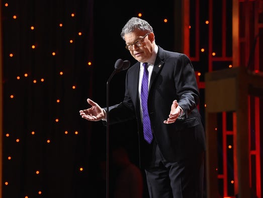 Franken speaks on stage during the 76th annual Peabody