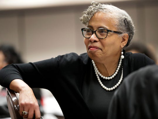 Keynote speaker Dr. Gloria Ladson-Billings of the University of Wisconsin-Madison School of Education listens Thursday to a presentation during the third annual African Heritage Emerging Student Leaders Institute at Liberty Hall in Kimberly.