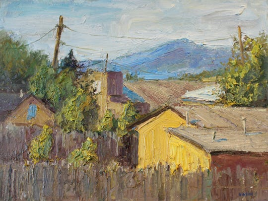 """""""Arroyo Seco Rooftops"""" is an oil on canvas by Turner Vinson that's part of the """"Looking West"""" exhibition with Anthony Brown at Center for Contemporary Arts."""