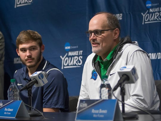 Head coach Pete Shinnick answers questions during the NCAA Division II National Championship football pre-game press conference at Children's Mercy Park in Kansas City, Kansas on Thursday, December 14, 2017.