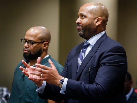 Billy Ray Turner (left) makes a bond hearing appearance in Judge Lee Coffee's courtroom with attorney John Keith Perry (right) Thursday morning. The bond hearing for Turner and co-defendant Sherra Wright has been rescheduled for May 4. Both are charged in the killing of former NBA player Lorenzen Wright.