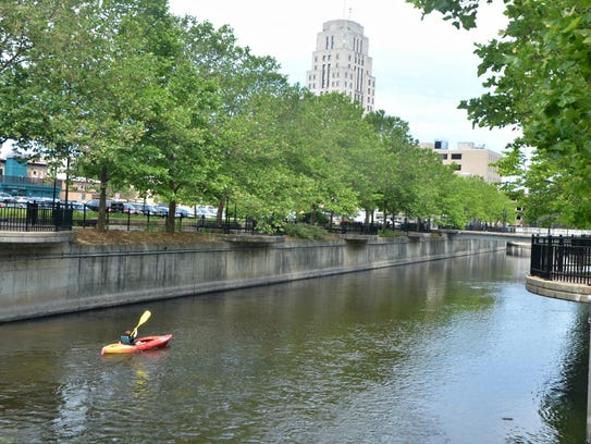 Jenna Crowe navigates the Battle Creek River Thursday