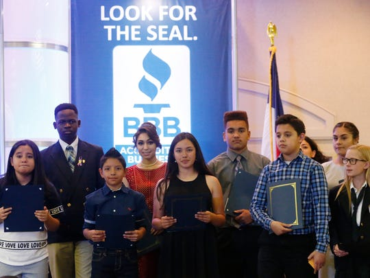 Several area students were honored for their participation in the Better Business Bureau's Laws of Life Essay Contest. The awards were presented to the students during the 2017 BBB Paso del Norte Annual Meeting and Torch Awards Program held Wednesday afternoon at the Wyndham El Paso Airport Hotel. Those receiving awards were, back row from left, Egide Nzimulinda, Cathedral High School; Allison Fajardo, Faith Christian Academy; Jayden Byrd, Faith Christian Academy; and Lauren Silerio, Eastwood Middle School. Also honored were, front row from left, Dyani Delgado, Paso del Norte School; Erik Sigala, Socorro Middle School; Susana Terrazas, Socorro Middle School; Daniel Arvizu, Morehead Middle School; and Chayse Husted, Radford School.