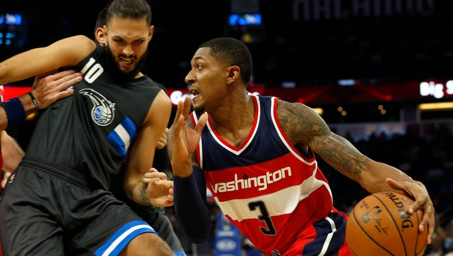 Washington Wizards guard Bradley Beal (3) drives to the basket against Orlando Magic guard Evan Fournier (10) in a recent game.