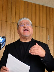 Luis J. Rodriguez at City Hall on Monday during his press conference about establishing a new youth-violence intervention project in Salinas.