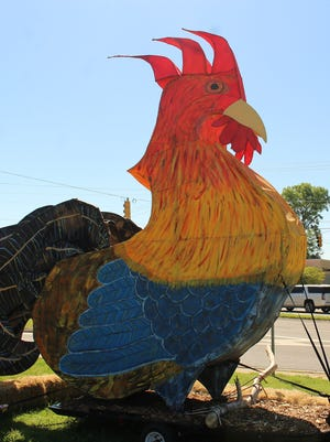 """This 20-foot-tall sentinel welcomes visitors to """"Rooster Day"""" Saturday in the west Alabama town of Demopolis. Alvin Benn/Special to the Advertiser"""