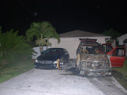 Cape Coral Fire and Police units responded to the scene, finding a large fire with billowing, toxic smoke, involving two vehicles parked in the residence's driveway just feet from the home. Cape Coral Fire Department personnel extinguished the fire, which is now thought to be suspicious in nature.