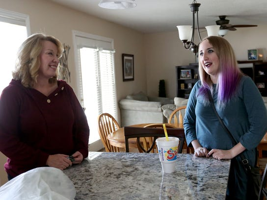 Lisa and Haley Vinson chat at home in West Jordan on Thursday, Nov. 2, 2017. Lisa's son and Haley's brother Brandon Vinson is in recovery from a heroin addiction.