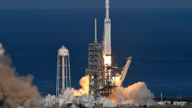 SpaceX's newest rocket, the Falcon Heavy, lifted off Tuesday, Feb. 6, 2018, on its first demonstration flight from Kennedy Space Center's launch pad 39A.