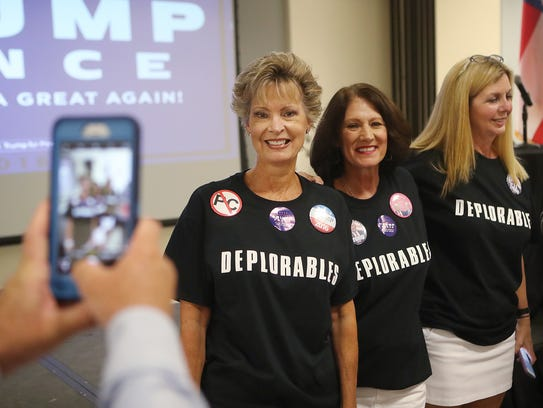 Women who support Donald Trump, from left, Darcy Butkus,
