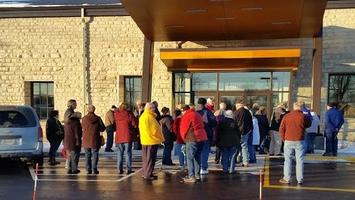 Crowds gathered outside the new senior and community center and emergency services facility in Sturgeon Bay before its open house.