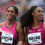 The women's 110-meter hurdles, one of five world championship previews scheduled to be run at this weekend's Drake Relays, is scheduled for 2:30 p.m. Saturday. American and Drake Stadium record-holder Brianna Rollins, right, is scheduled to compete with 2014 Drake Relays champion Kristi Castlin, left, and 2008 Olympic gold medalist Dawn Harper-Nelson, among others.