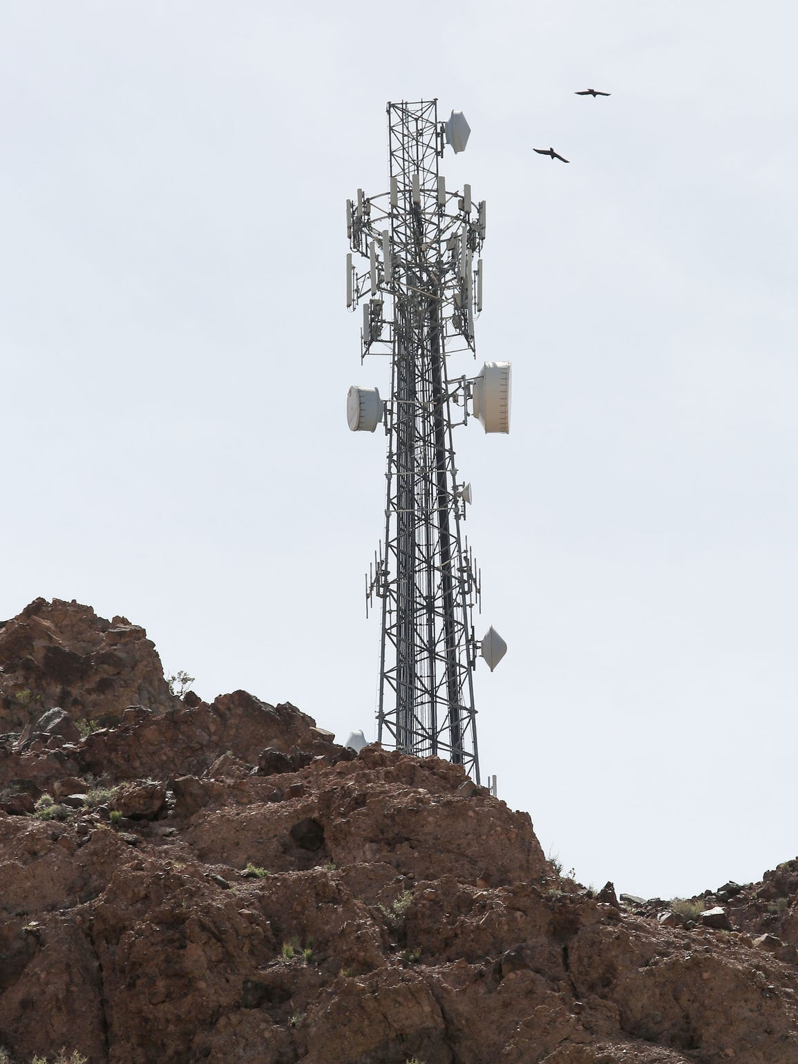 Tom Gammon's company, Interconnect Towers, built this cell tower in a desolate area along Interstate 40 in the California desert.