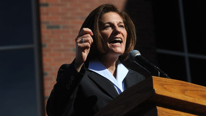 Candidate for U.S. Senate Catherine Cortez Masto campaigns on the campus of the University of Nevada, Reno on Oct. 19, 2016.