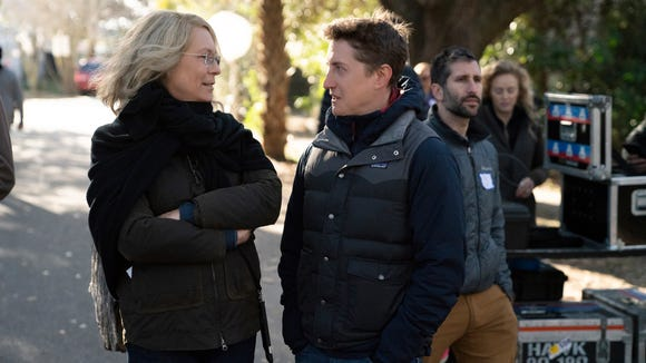 """Jamie Lee Curtis and director David Gordon Green converse on the set of """"Halloween."""""""