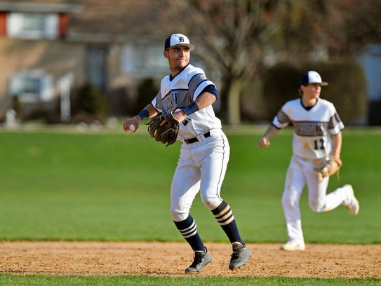 Dallastown's Nick Parker prepares to throw to first