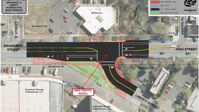 Intersection improvements closed down Liberty Street NE and Broadway Road NE on Monday.