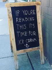 Purple Door Ice Cream, 205 S. 2nd St., attracts guests with pop culture references, like this reference to the rapper Drake.
