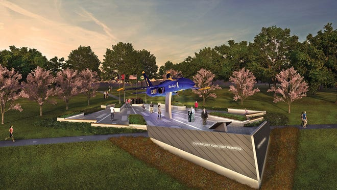 A rendering of the memorial planned to honor Capt. Jeff Kuss in Smyrna, Tennessee.