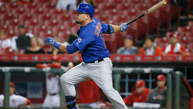 Kyle Schwarber hit a single off Cincinnati Reds relief pitcher Carlos Contreras on Tuesday.