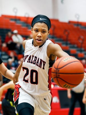 New Albany's Chyna Anthony chases down a ball. Dec. 17, 2016