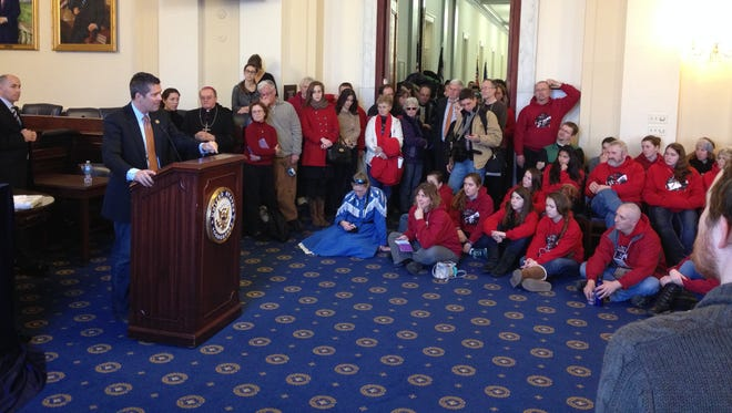 Rep. Sean Duffy, R-Wausau, talks to Wisconsin students who traveled to Washington to participate Thursday in the March for Life.