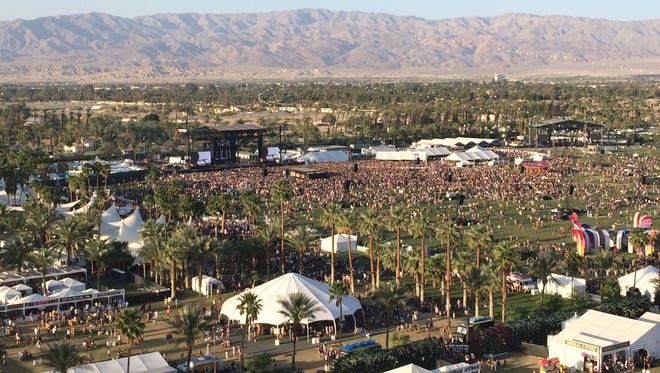 View from the ferris wheel at the Coachella Valley Music and Arts Festival.